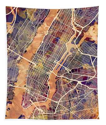 New York City Street Map Tapestry by Michael Tompsett