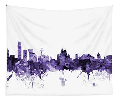 Liverpool England Skyline Tapestry