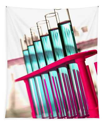 Test Tubes In Science Research Lab Tapestry