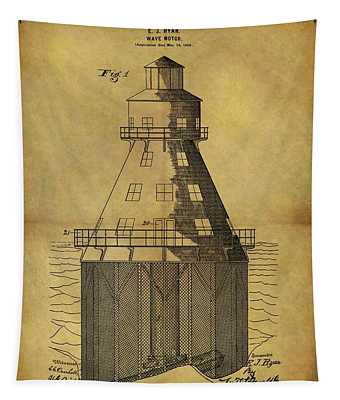 1899 Wave Motor Patent Tapestry