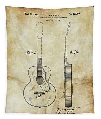 1941 Gretsch Guitar Patent Drawing - Vintage Tapestry
