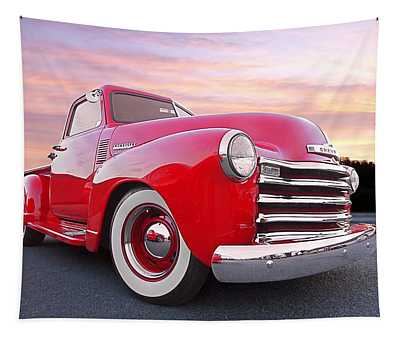1950 Chevy Pick Up At Sunset Tapestry