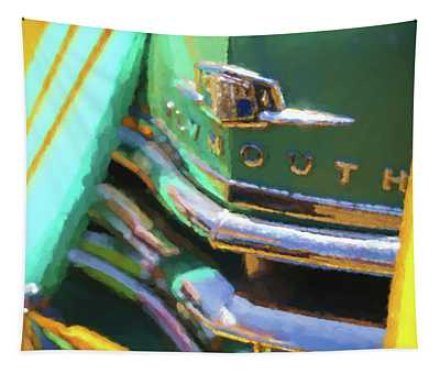 1950 Plymouth Woody And Surfboards Watercolor 1 Tapestry