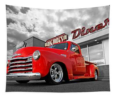 1952 Chevrolet Truck At The Diner Tapestry