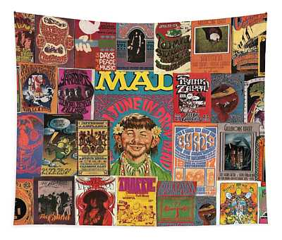 1960s Rock Concert Poster Colage Tapestry