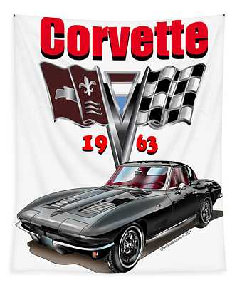1963 Corvette With Split Rear Window Tapestry