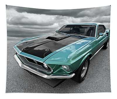 1969 Green 428 Mach 1 Cobra Jet Ford Mustang Tapestry