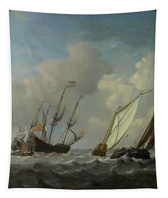 A Dutch Ship, A Yacht And Smaller Vessels In A Breeze Tapestry
