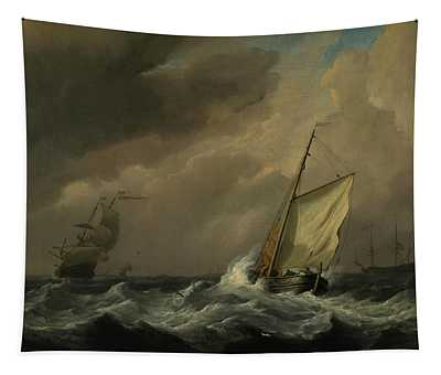 A Small Dutch Vessel Close-hauled In A Strong Breeze Tapestry