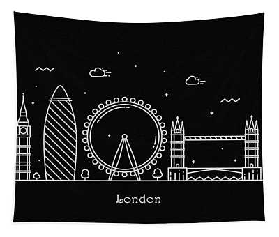 London Skyline Travel Poster Tapestry