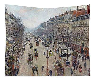 Boulevard Montmartre, Morning, Cloudy Weather Tapestry