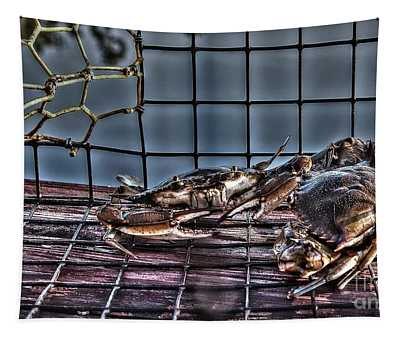 2 Crabs In Trap Tapestry