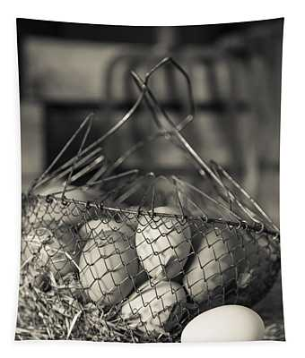 Farm Fresh Eggs Bw Tapestry