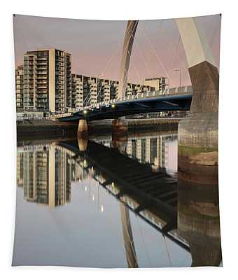 Glasgow Clyde Arc Bridge At Sunset Tapestry