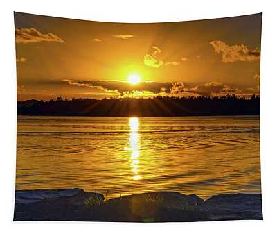 Golden Sunrise Waterscape Tapestry