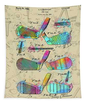 Golf Club Patent Drawing Watercolor 3 Tapestry