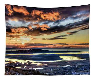 Great Salt Lake Sunset Tapestry