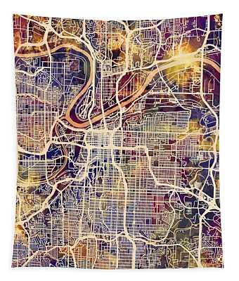 Kansas City Missouri City Map Tapestry