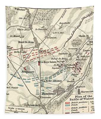 Map Of The Battle Of Waterloo Tapestry