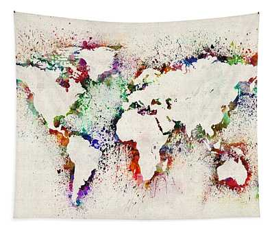 Map Of The World Paint Splashes Tapestry