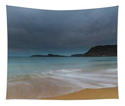 Overcast Cloudy Sunrise Seascape Tapestry