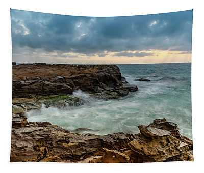 Overcast Sunrise Seascape And Rock Platform Tapestry