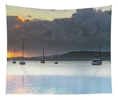 Overcast Sunrise Waterscape Tapestry