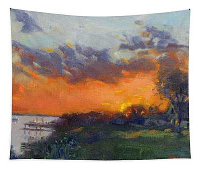 Sunset At Gratwick Waterfront Park Tapestry