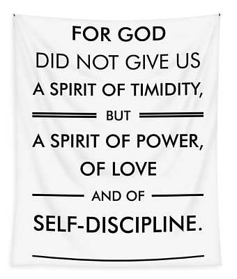 2 Timothy 1-7 - Spiritual Wall Art - Bible Verses Art - Minimalist Scripture Tapestry
