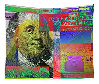 2009 Series Pop Art Colorized U. S. One Hundred Dollar Bill No. 1 Tapestry