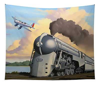 20th Century Limited And Plane Tapestry