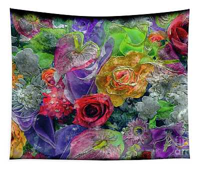 21a Abstract Floral Painting Digital Expressionism Tapestry