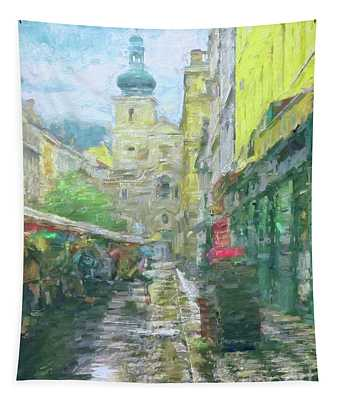 2nd Work Of The Market In The Rain - Prague Tapestry