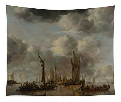 A Shipping Scene With A Dutch Yacht Firing A Salute Tapestry