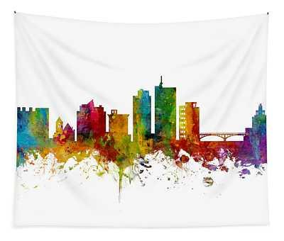 Cedar Rapids Iowa Skyline Tapestry