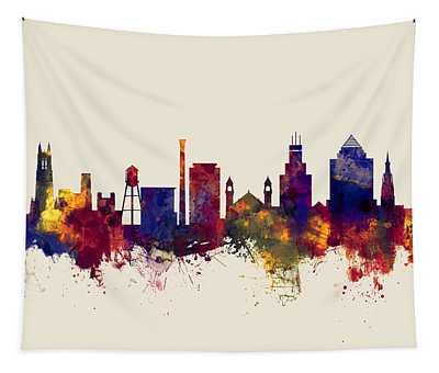 Durham North Carolina Skyline Tapestry