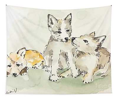 Tapestry featuring the painting 3 Fox Pups by Maria Langgle