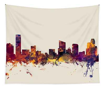 Grand Rapids Michigan Skyline Tapestry