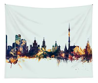 Moscow Russia Skyline Tapestry