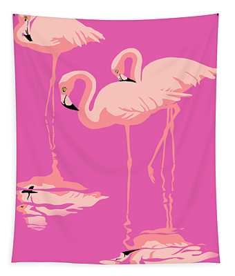 3 Pink Flamingos Abstract Pop Art Nouveau Graphic Art Retro Stylized Florida Tapestry