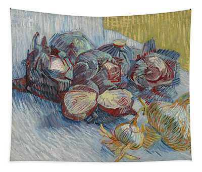 Red Cabbages And Onions Tapestry