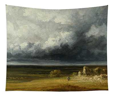 Stormy Landscape With Ruins On A Plain Tapestry