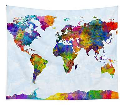 Watercolor Map Of The World Map Tapestry