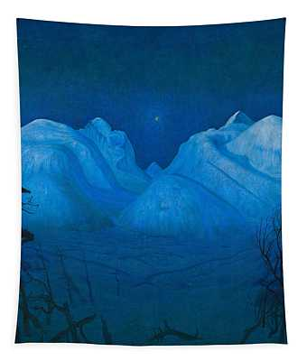 Winter Night In The Mountains Tapestry