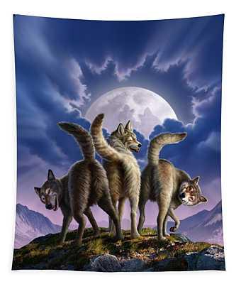 3 Wolves Mooning Tapestry