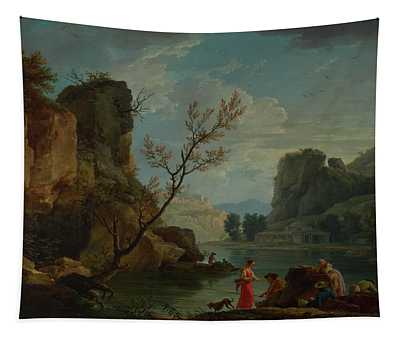 A River With Fishermen Tapestry