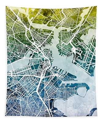 Boston Massachusetts Street Map Tapestry