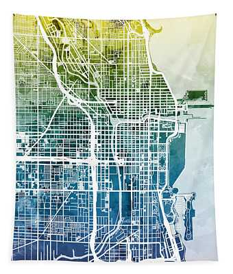 Chicago City Street Map Tapestry