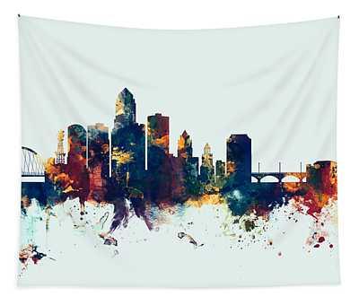 Des Moines Iowa Skyline Tapestry