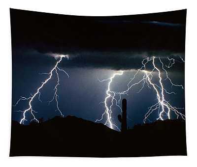 4 Lightning Bolts Fine Art Photography Print Tapestry